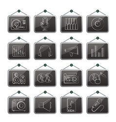 Music and audio equipment icons vector image
