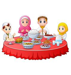 Muslim family pray together before break fasting vector