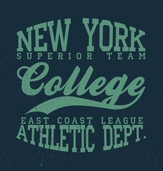 new york college t-shirt graphics vintage denim vector image