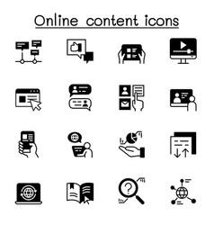 online content icon set graphic design vector image