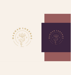 Outline graphic logo growing flower line style vector