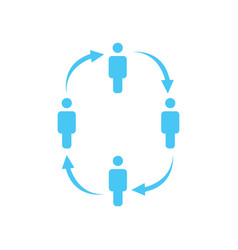 people in the circle icon with arrows team work vector image
