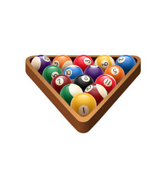 Pool billiards balls in triangle game icon vector