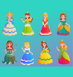 princess character cute adorble girls different vector image