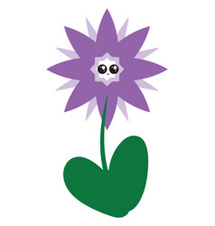 purple cute flower on white background vector image