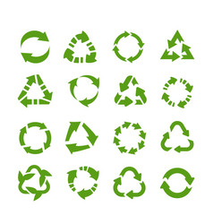 recycle icons circle arrows product reuse and vector image