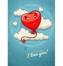 Red heart baloon flying among vector image