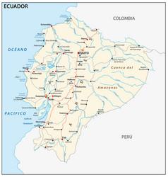 Republic ecuador road map vector