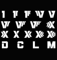 Roman numerals set white style vector