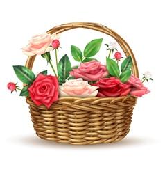 Roses Flowers Wicker Basket Realistic Image vector image