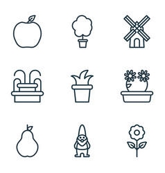 Set of 9 garden icons includes decorative plant vector