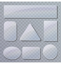 set transparent glass plates vector image