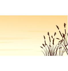 Silhouette of coarse grass landscape vector