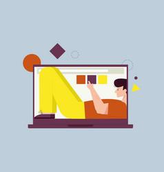 smiling man lying inside laptop screen fills vector image