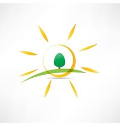 sunny landscape icon vector image