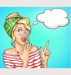 Surprised blonde woman pop art portrait vector