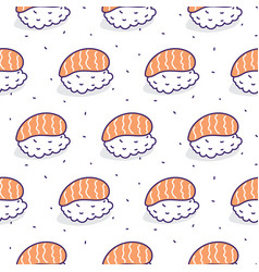 Sushi salmon seamless pattern vector