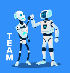 Team two robots give five to each other vector