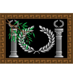 The Greek columns and wreath vector image vector image