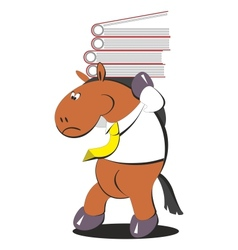The horse carries a stack of folders 005 vector image