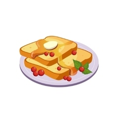 Toasts With Butter Breakfast Food Element Isolated vector