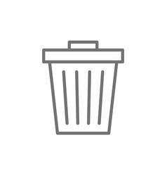 Trash can garbage waste line icon vector