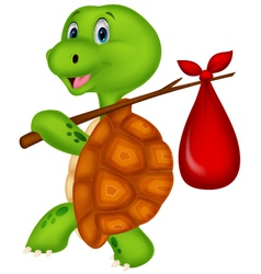 Turtle cartoon traveling vector image