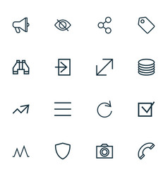 User icons line style set with social amplifier vector
