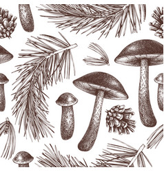 vintage forest background -pine and mushrooms vector image