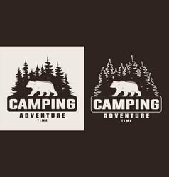 Vintage monochrome summer camping print vector