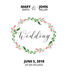 Wedding card with flower wreath invitation vector