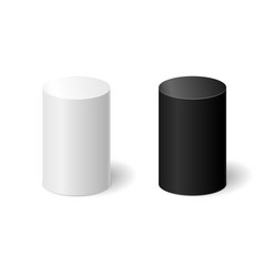 white and black 3d cylinders with a shadow vector image