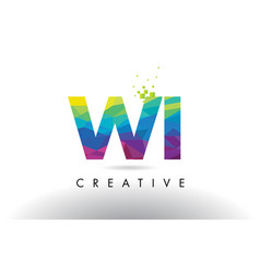 Wi w i colorful letter origami triangles design vector