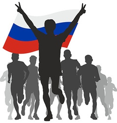 Winner with the Russia flag at the finish vector