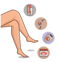 Woman legs with hair removal icons vector
