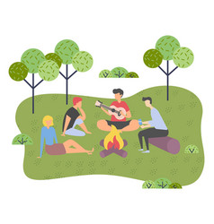 young group friends on a picnic outside the vector image