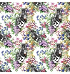 Zebra flowers seamless pattern vector