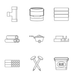 building material icon set outline style vector image