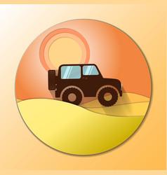 desert dunes sunset landscape off road car vector image vector image