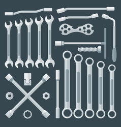 Flat style various wrench set vector