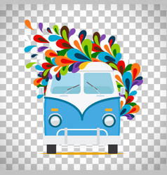 hippie flowers bus on transparent background vector image vector image