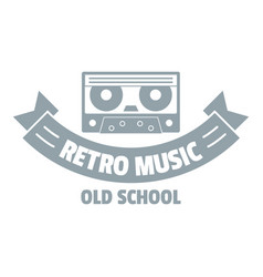 radio retro music logo simple gray style vector image