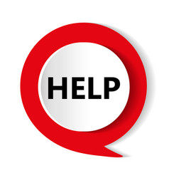 red button help icon vector image vector image