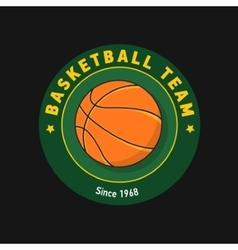 Retro green color basketball badge vector image vector image