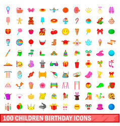 100 children birthday icons set cartoon style vector image vector image