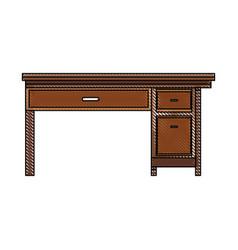 drawing office desk wooden drawer handle furniture vector image
