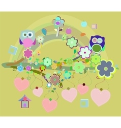 owls birds and love heart tree branch vector image