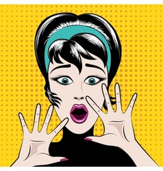 Scared pop art woman vector image