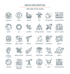 space exploration thin line icons vector image vector image