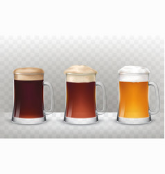 three glass beer mugs with a vector image vector image